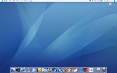 The default desktop of Mac OS X