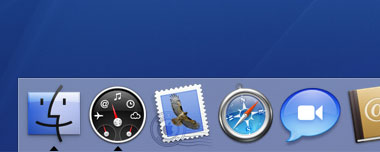 The dock contains shortcuts to your favourite applications.