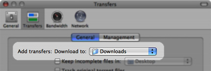 Tell Transmission that you want your downloads to be in that folder.