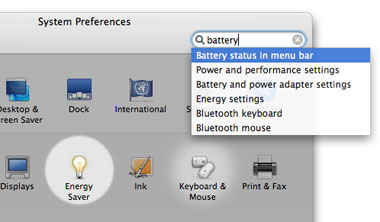 System Preferences has a search field!